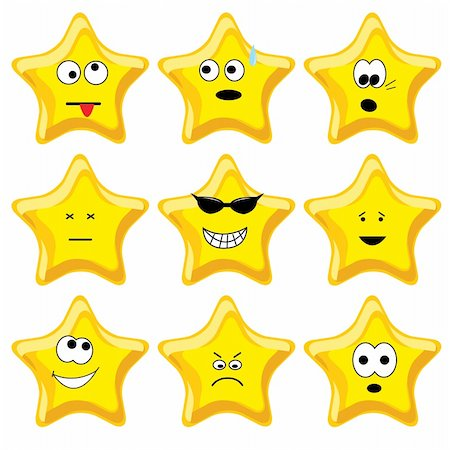 Set of nine cartoon gold stars. Vector illustration. Stock Photo - Budget Royalty-Free & Subscription, Code: 400-04642144