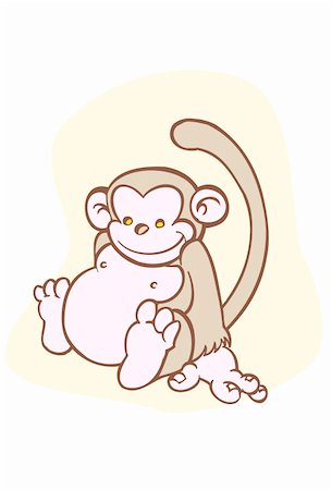 smiling chimpanzee - Cute little monkey sitting with a smile. Stock Photo - Budget Royalty-Free & Subscription, Code: 400-04642856