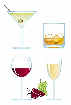 Clip-arts of alcoholic drinks on white background Stock Photo - Budget Royalty-Free & Subscription, Code: 400-04643074