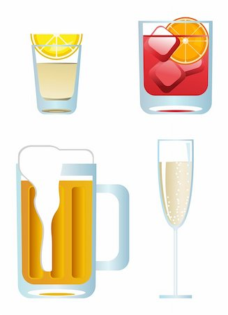 Clip-arts of alcoholic drinks on white background Stock Photo - Budget Royalty-Free & Subscription, Code: 400-04643075