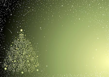 fireworks vector art - Starry background with ornate Christmas tree Stock Photo - Budget Royalty-Free & Subscription, Code: 400-04654916