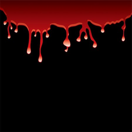 Slick of blood dribbling down a black background with light reflection Stock Photo - Budget Royalty-Free & Subscription, Code: 400-04655536