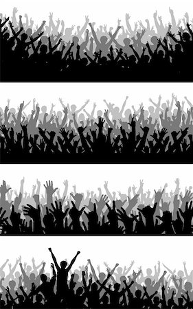 simsearch:400-04222950,k - Set of editable vector silhouettes of cheering crowds Stock Photo - Budget Royalty-Free & Subscription, Code: 400-04655561