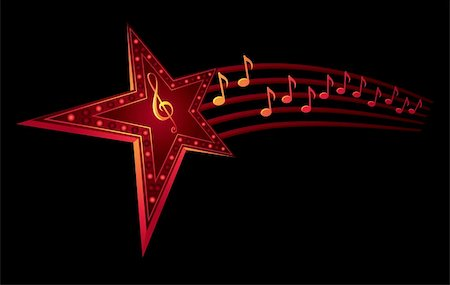 Neon star with music notes isolated on black Stock Photo - Budget Royalty-Free & Subscription, Code: 400-04656862