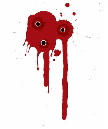 Splattered blood pattern with drips and shotgun holes Stock Photo - Budget Royalty-Free & Subscription, Code: 400-04657325
