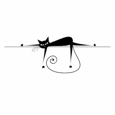 Relax. Black cat silhouette for your design Stock Photo - Budget Royalty-Free & Subscription, Code: 400-04657381