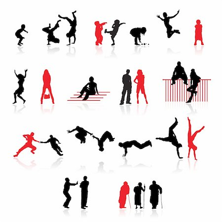 Silhouettes of people: fun children, young couples, sport teens, old age Stock Photo - Budget Royalty-Free & Subscription, Code: 400-04658194