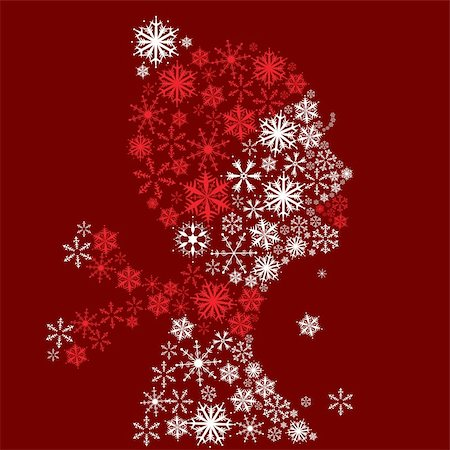Stylized woman head, snowflakes. Winter season. Stock Photo - Budget Royalty-Free & Subscription, Code: 400-04658213