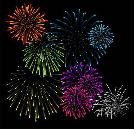 fireworks vector - Set of fireworks illustrations on black background Stock Photo - Budget Royalty-Free & Subscription, Code: 400-04658277