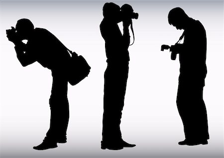 Vector image of young photographers with equipment at work Stock Photo - Budget Royalty-Free & Subscription, Code: 400-04658343