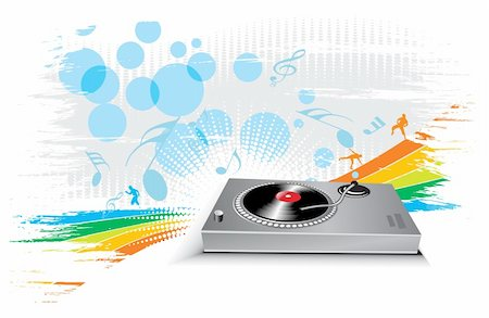 turntable on wave halftone line background, vector illustration Stock Photo - Budget Royalty-Free & Subscription, Code: 400-04659134