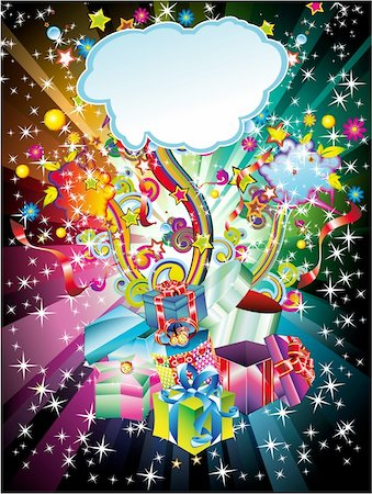 Colorful Christmas Gift Background with Abstract Design Elements Stock Photo - Budget Royalty-Free & Subscription, Code: 400-04650734