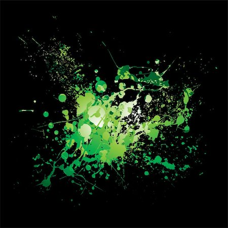 dripping splat - illustrated Abstract green and black ink splat background Stock Photo - Budget Royalty-Free & Subscription, Code: 400-04650985