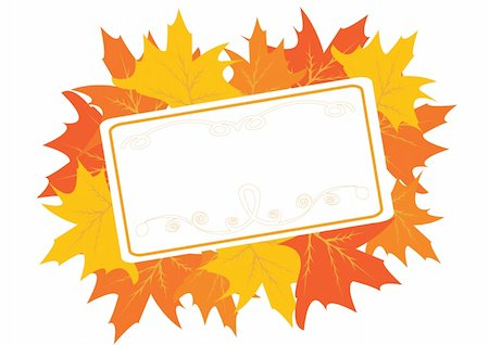Autumnal frame with maple leaves for Thanksgiving day. Vector illustration Stock Photo - Budget Royalty-Free & Subscription, Code: 400-04651473
