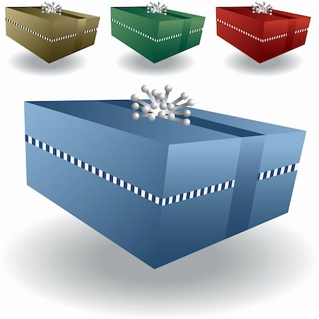 silver box - Four colors of holiday and celebration 3d gifts with a silver star ribbon. Stock Photo - Budget Royalty-Free & Subscription, Code: 400-04651709