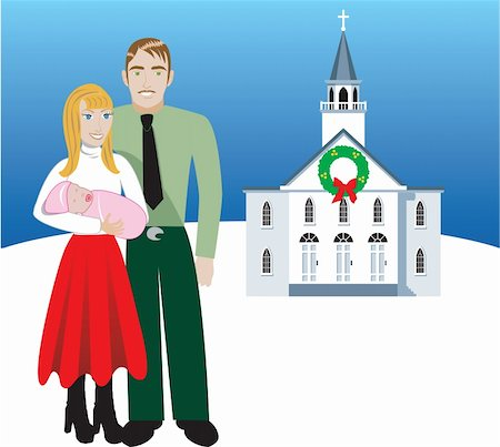 Vector Illustration of Family number 4. A family of 3 in front of church during Christmas time. Has room for message or text. Stock Photo - Budget Royalty-Free & Subscription, Code: 400-04652143