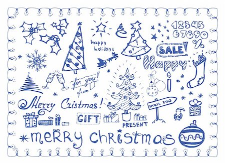 Christmas doodles / vector illustrations set Stock Photo - Budget Royalty-Free & Subscription, Code: 400-04652578