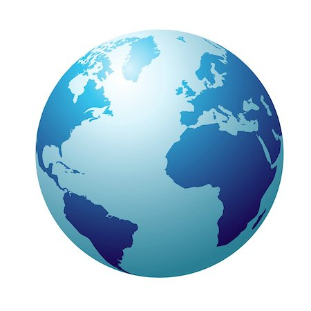 Blue circular globe showing north america and europe Stock Photo - Budget Royalty-Free & Subscription, Code: 400-04652887