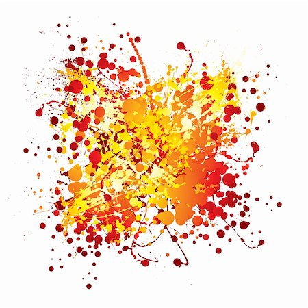 splats of paint - Red and yellow abstract ink splat with white background Stock Photo - Budget Royalty-Free & Subscription, Code: 400-04652893