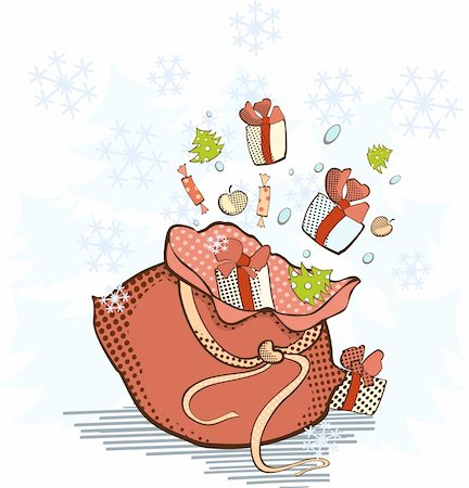 Santa's bag with gifts which scatter in the air Stock Photo - Budget Royalty-Free & Subscription, Code: 400-04653250