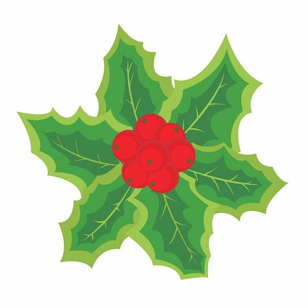 Christmas element with holly berries for your design. Vector illustration. Stock Photo - Budget Royalty-Free & Subscription, Code: 400-04664059