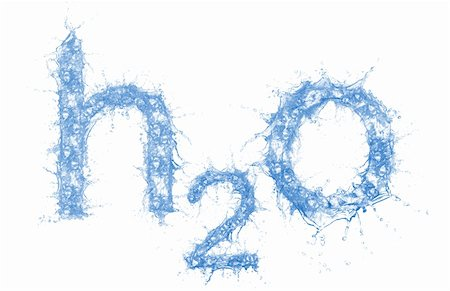 Stock image of water formula made out of water, very detailed splashes Stock Photo - Budget Royalty-Free & Subscription, Code: 400-04664623