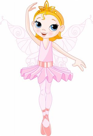 flying heart girl - Vector Illustration of Little Cute dancing Fairy Ballerina Stock Photo - Budget Royalty-Free & Subscription, Code: 400-04665042