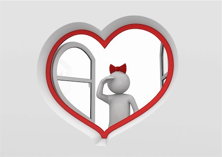Girl looking for a boy (love, valentine day series; 3d isolated characters) Stock Photo - Budget Royalty-Free & Subscription, Code: 400-04665936