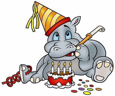 Hippo and Birthday Cake - detailed colored illustration as vector Stock Photo - Budget Royalty-Free & Subscription, Code: 400-04666065
