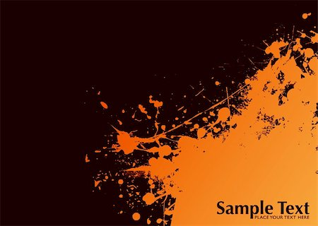 dripping splat - Orange and black ink splat grunge background with copyspace Stock Photo - Budget Royalty-Free & Subscription, Code: 400-04666273