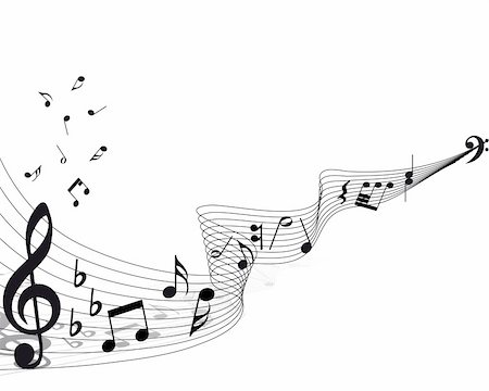 Vector musical notes staff background for design use Stock Photo - Budget Royalty-Free & Subscription, Code: 400-04666629