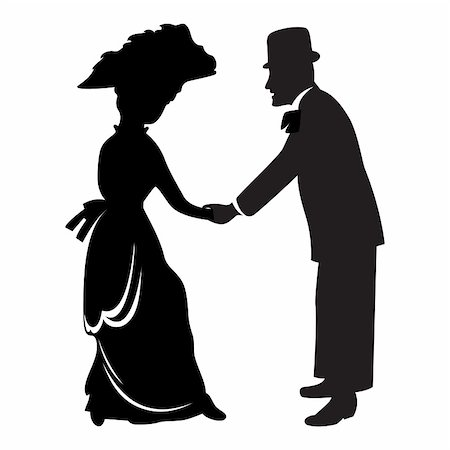 Victorian couple silhouette isolated over white Stock Photo - Budget Royalty-Free & Subscription, Code: 400-04667374