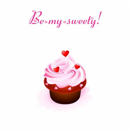 Valentine card with creamy cupcake and hearts Stock Photo - Budget Royalty-Free & Subscription, Code: 400-04667385