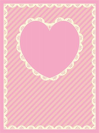 Vector in pink, gold and ecru stripes with Victorian eyelet trim & a heart shaped copy space. Stock Photo - Budget Royalty-Free & Subscription, Code: 400-04667445