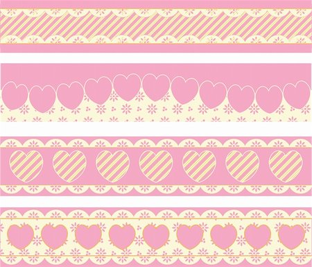 Four vector borders with Victorian eyelet hearts and stripes in pink, gold & ecru. Stock Photo - Budget Royalty-Free & Subscription, Code: 400-04667448
