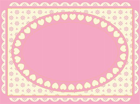 Oval vector frame of hearts on a Victorian eyelet background in shades of pink, gold and ecru. Stock Photo - Budget Royalty-Free & Subscription, Code: 400-04667452