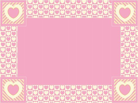 Vector heart border with copy space in shades of pink, gold and ecru. Stock Photo - Budget Royalty-Free & Subscription, Code: 400-04667468