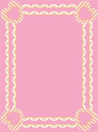 Vector Victorian frame with rows of eyelet, striped hearts, and plenty of copy space in shades of pink, gold and ecru. Stock Photo - Budget Royalty-Free & Subscription, Code: 400-04667474