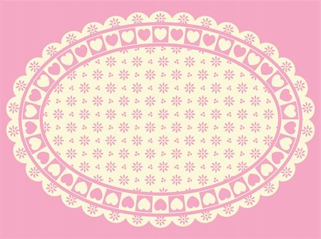 Oval Vector Heart border with Victorian eyelet copy space in shades of pink and ecru. Stock Photo - Budget Royalty-Free & Subscription, Code: 400-04667470