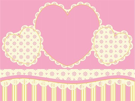 Vector Victorian background copy space with hearts, eyelet and stripes in pink, gold and ecru. Stock Photo - Budget Royalty-Free & Subscription, Code: 400-04667472