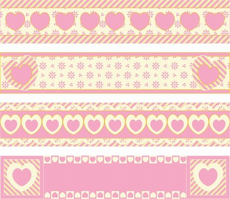 Four vector borders with Victorian eyelet hearts and stripes in pink, gold & ecru. Stock Photo - Budget Royalty-Free & Subscription, Code: 400-04667498