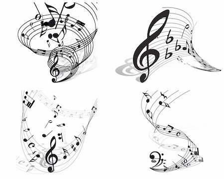Vector musical notes staff backgrounds set for design use Stock Photo - Budget Royalty-Free & Subscription, Code: 400-04667601