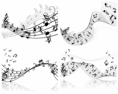 Vector musical notes staff backgrounds set for design use Stock Photo - Budget Royalty-Free & Subscription, Code: 400-04667802