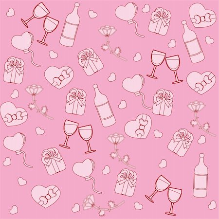 simsearch:400-04597082,k - Seamless pattern with st. valentine stuff. Vector illustration Stock Photo - Budget Royalty-Free & Subscription, Code: 400-04667935