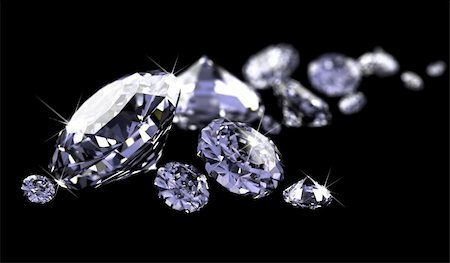a lot of diamonds, scattering across the black made in 3D Stock Photo - Budget Royalty-Free & Subscription, Code: 400-04668424