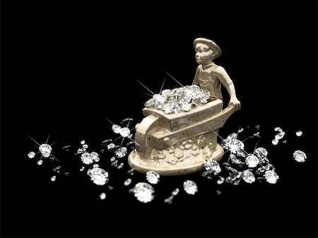 a lot of diamonds and marble statuette made in 3D Stock Photo - Budget Royalty-Free & Subscription, Code: 400-04668452