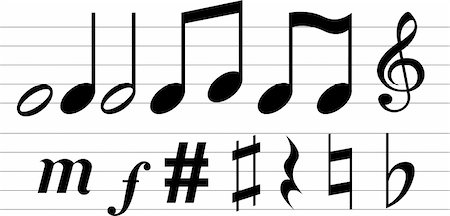 quarter note - Vector musical notations on white background Stock Photo - Budget Royalty-Free & Subscription, Code: 400-04669042