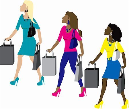 Three women shopping with bags dressed fashionably. Stock Photo - Budget Royalty-Free & Subscription, Code: 400-04660191