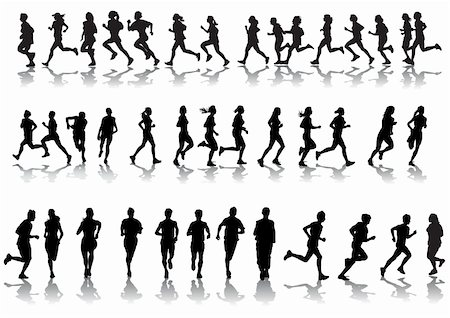 Vector drawing running athletes. Silhouettes on white background Stock Photo - Budget Royalty-Free & Subscription, Code: 400-04661264