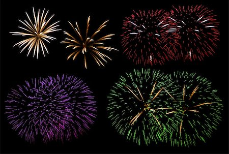 Set of four different fireworks isolated on black Stock Photo - Budget Royalty-Free & Subscription, Code: 400-04662145